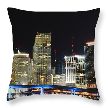 Bay Front Miami Skyline Throw Pillow by Gary Dean Mercer Clark