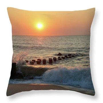 Bay Head Beach Sunrise 1 Throw Pillow