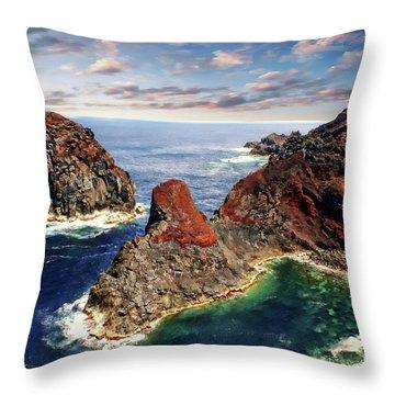 Bay Of Ponta Da Barca Throw Pillow by Anthony Dezenzio