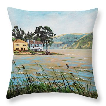 Bay Scenery With Houses Throw Pillow