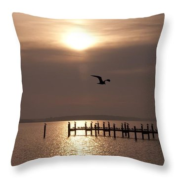 Bay Sunrise Throw Pillow by Bill Cannon