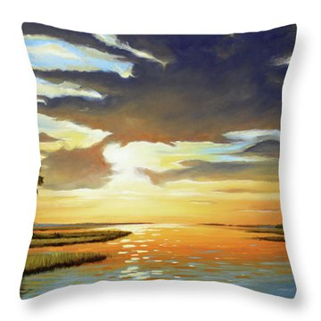 Bay Sunset Throw Pillow by Rick McKinney