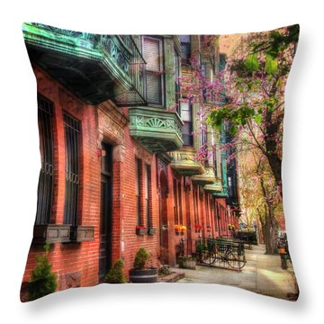 Bay Village Brownstones And Cherry Blossoms - Boston Throw Pillow by Joann Vitali