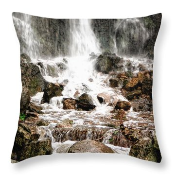 Throw Pillow featuring the photograph Bayfront Park Waterfall by Lars Lentz