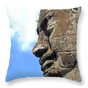 Bayon Face Throw Pillow by Marion Galt