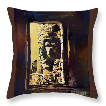 Throw Pillow featuring the painting Bayon IIi- Cambodian Ruins, Angkor Wat by Ryan Fox