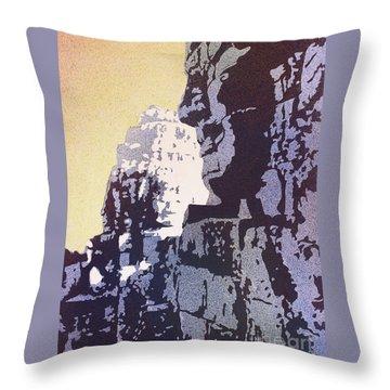 Bayon Temple- Angkor Wat, Cambodia Throw Pillow by Ryan Fox