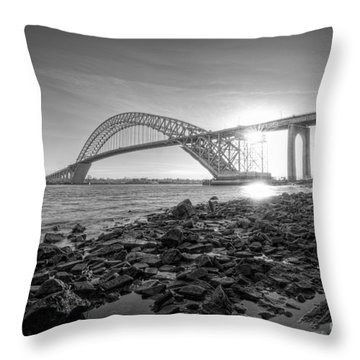 Bayonne Bridge Black And White Throw Pillow