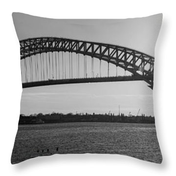 Bayonne Bridge Panorama Bw Throw Pillow
