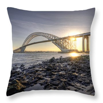 Bayonne Bridge Sunset Throw Pillow
