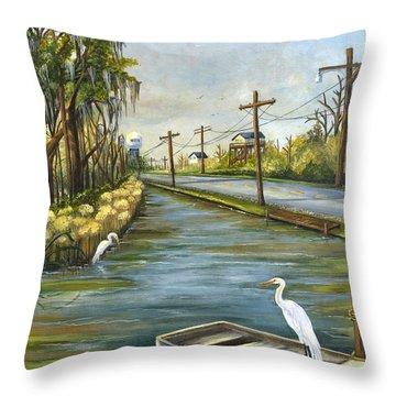 Bayou Terre Aux Boeufs Throw Pillow by Elaine Hodges