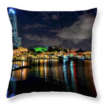Bayside Miami Florida At Night Under The Stars Throw Pillow