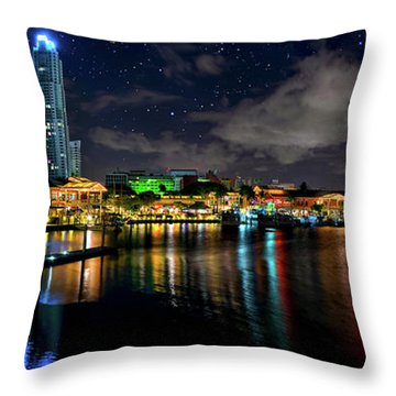 Bayside Miami Florida At Night Under The Stars Throw Pillow by Justin Kelefas