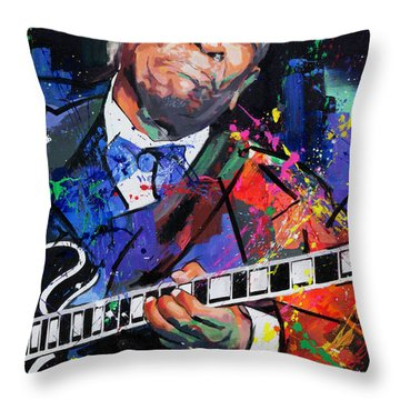 Throw Pillow featuring the painting Bb King Portrait by Richard Day