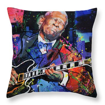 Bb King Throw Pillow by Richard Day