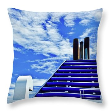 Bc Ferry On A Sunny Summer Day Throw Pillow