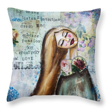 Throw Pillow featuring the mixed media Be Brave Inspirational Mixed Media Folk Art by Stanka Vukelic
