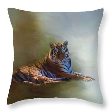 Be Calm In Your Heart - Tiger Art Throw Pillow