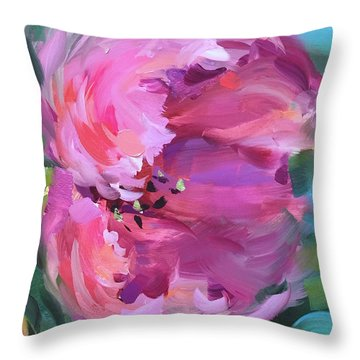 Be Free Pink Tulip Throw Pillow by Nancy Medina