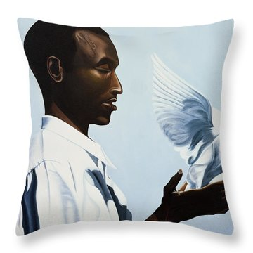 Be Free Three Throw Pillow by Kaaria Mucherera