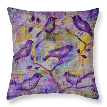 Throw Pillow featuring the painting Tweets Of Gratitude by Agata Lindquist