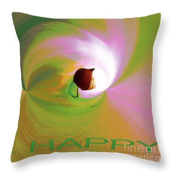 Be Happy, Green-pink With Physalis Throw Pillow