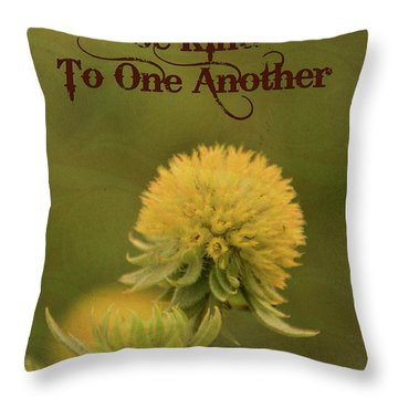 Throw Pillow featuring the mixed media Be Kind To One Another by Trish Tritz