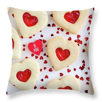Throw Pillow featuring the photograph Be Mine Heart Cookies by Teri Virbickis