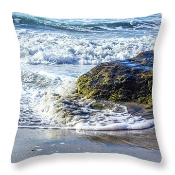 Wave Around A Rock Throw Pillow