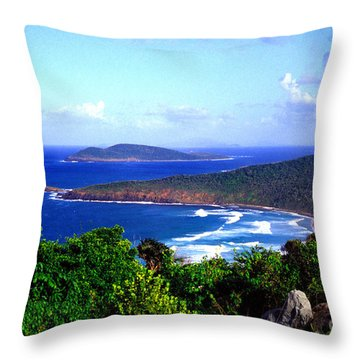 Beach And Cayo Norte From Mount Resaca Throw Pillow by Thomas R Fletcher