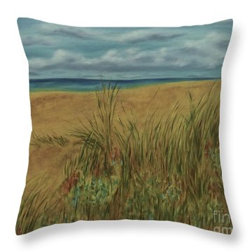 Beach And Clouds Throw Pillow