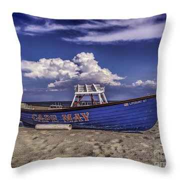 Beach And Lifeboat Throw Pillow