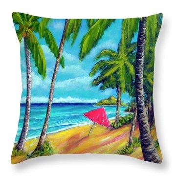 Beach And Mokulua Islands  #368 Throw Pillow by Donald k Hall