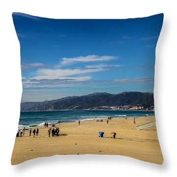 Beach And Mountains Throw Pillow by Robert Hebert