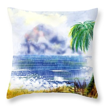 Beach And Palm Tree Of D.r.  Throw Pillow