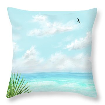 Throw Pillow featuring the digital art Beach And Palms by Darren Cannell