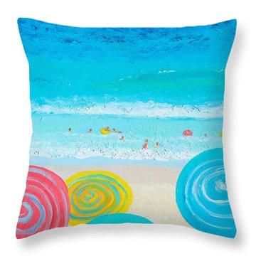 Beach Art - Lollipop Umbrellas Throw Pillow