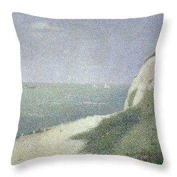 Beach At Bas Butin Throw Pillow by Georges Pierre Seurat