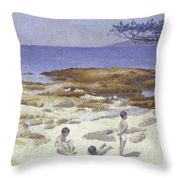 Beach At Cabasson Throw Pillow