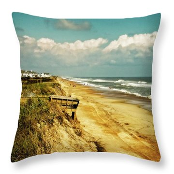 Beach At Corolla Throw Pillow