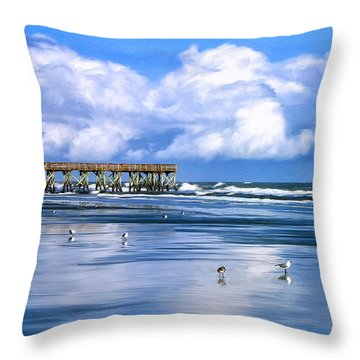 Beach At Isle Of Palms Throw Pillow by Dominic Piperata