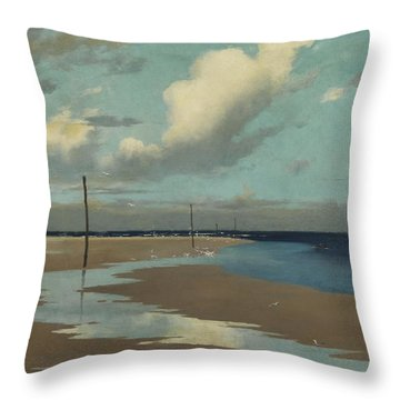 Beach At Low Tide Throw Pillow