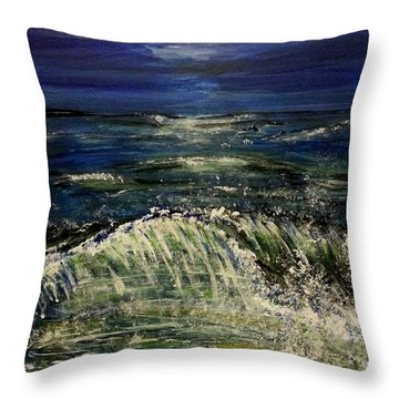 Beach At Night Throw Pillow