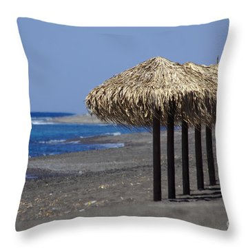 Throw Pillow featuring the photograph Beach At Perivolos by Jeremy Hayden