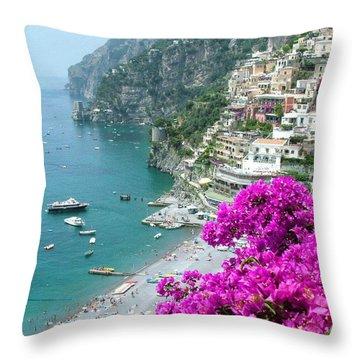 Beach At Positano Throw Pillow