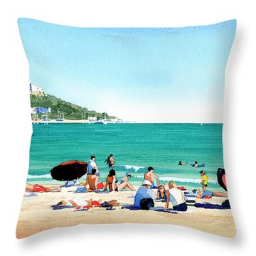 Beach At Roses, Spain Throw Pillow