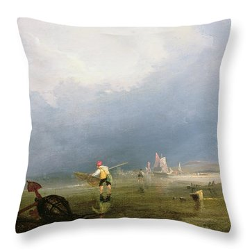 Beach At Shoreham Throw Pillow by Anthony Vandyke Copley Fielding