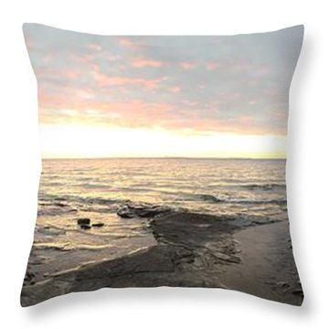 Throw Pillow featuring the photograph Beach At Sunset  by Paula Brown