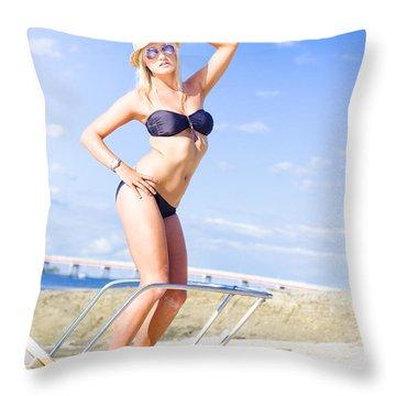Beach Babe On Cruise Boat Throw Pillow