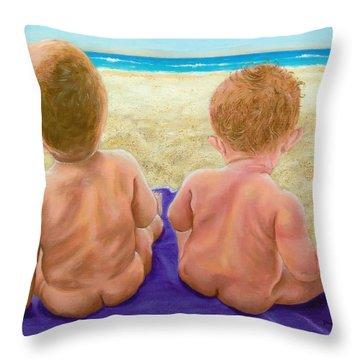 Beach Babies Throw Pillow by Susan DeLain